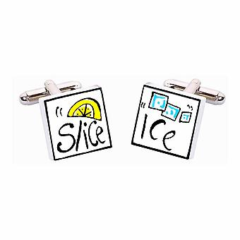 Ice and Slice Cufflinks by Sonia Spencer, in Presentation Gift Box. Hand painted