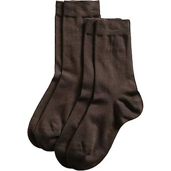 Esprit Basic Fine Knit Mid-Calf 2 Pack Socks - Dark Brown