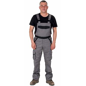 Dickies Bib and Brace Dungarees - Grey / Black Mens Work Overalls Dungarees