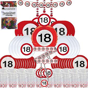Party box 18 birthday 58-teilig Deco traffic sign party package