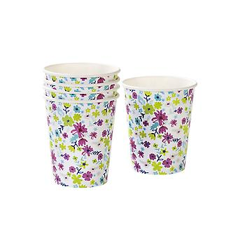 Truly Ditsy Floral Paper Party Cups x 12 - Wedding Party