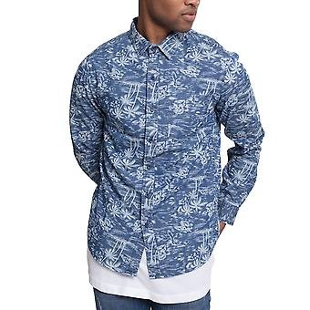 Urban Classics - Printed PALM Denim Shirt Hemd washed