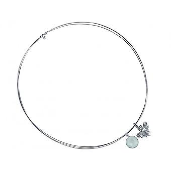 Necklace - pendant - 925 Silver - bee - chalcedony - sea green - 45 cm