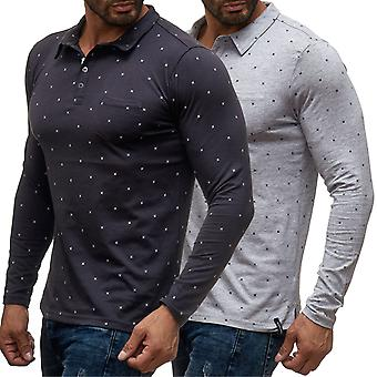 Men's short-sleeved polo shirt leisure shirt slim fit casual chic new Polkadot