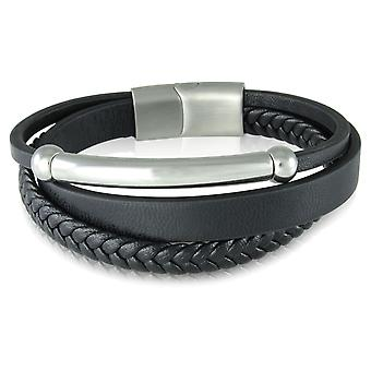 Skipper bracelet leather bracelet magnetic clasp black 7216
