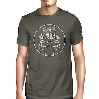 Muscles Are Importanter Dark Grey Short Sleeve Tee Shirt For Men