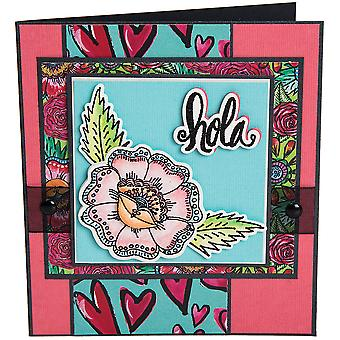 Sizzix Framelits Die & Stamp Set By Crafty Chica 4/Pkg-Hola Flower
