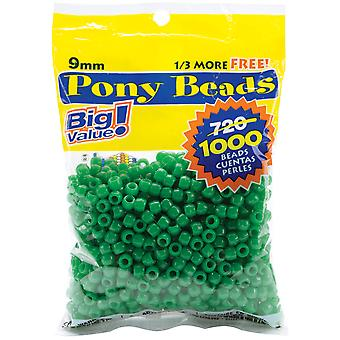 Pony Beads 6mmX9mm 1,000/Pkg-Opaque Green