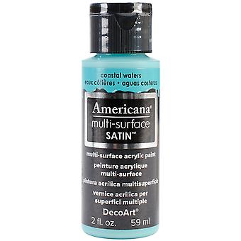 Americana Multi-Surface Satin Acrylic Paint 2oz-Coastal Waters