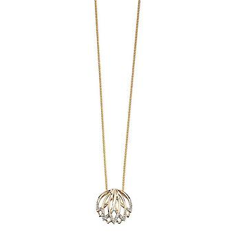 Elements Gold Diamond Lotus Flower Pendant - Gold/Clear