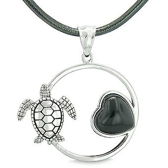 Amulet Cute Sea Turtle Magic Circle Heart Medallion Positive Powers Faux Black Onyx Necklace