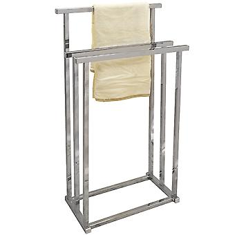 Pizo - Metal 3 Rung Bathroom Towel Rail / Drying Rack - Silver