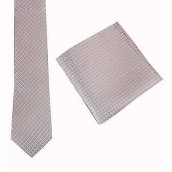 Knightsbridge Neckwear Check Tie and Pocket Square set - Beige