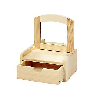 Wooden Jewellery Box with Mirror Lid - 12x9x6cm | Wooden Shapes for Crafts