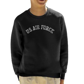 US Airforce Training White Text Distressed Kid's Sweatshirt
