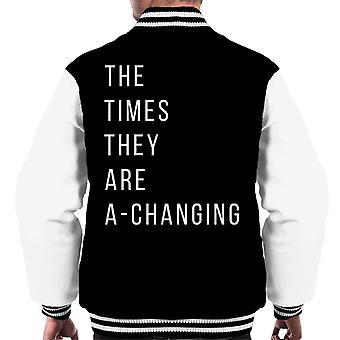 The Times They Are A Changing Song Lyric Men's Varsity Jacket