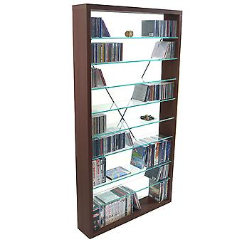 Arizona - 760 Cd / 350 Dvd / Blu-ray / Media Glass Storage Shelves - Dark Oak