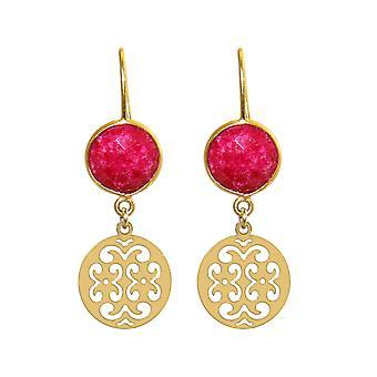 GEMSHINE damer øredobber med Mandalas og røde rubiner for utmerket kvalitet. Øredobber. Laget i Madrid, Spania. I elegant gaveeske.