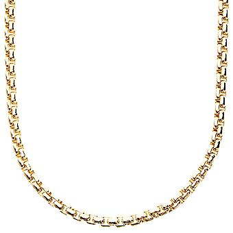 Iced out bling ROUND BOX chain - 4mm gold - 90cm