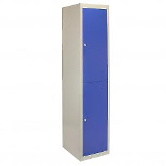 Metal Storage Lockers - Two Doors, Flatpacked, Blue