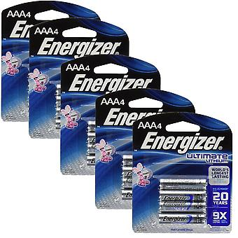 20 x Energizer L92 Ultimate Lithium Battery AAA Size