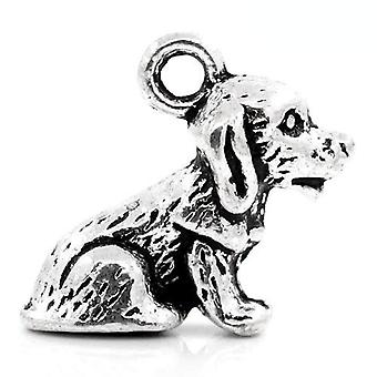 Packet 10 x Antique Silver Tibetan 17mm Dog Charm/Pendant ZX06335