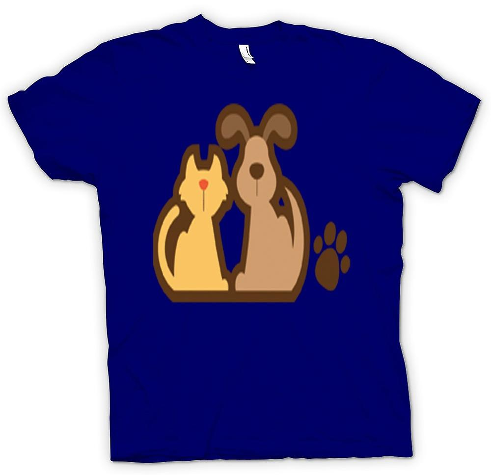 Mens T-shirt - Cat And Dog Cartoon Drawing