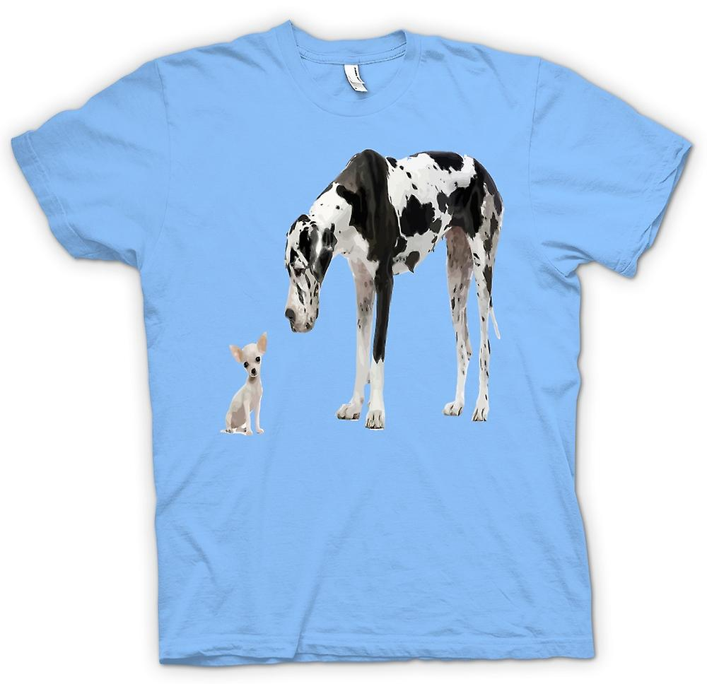 Hommes T-shirt - Great Dane Et Chihuahua Cut Pet Dogs