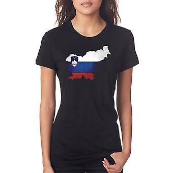 Slowenien-Flag Karte Damen T Shirt