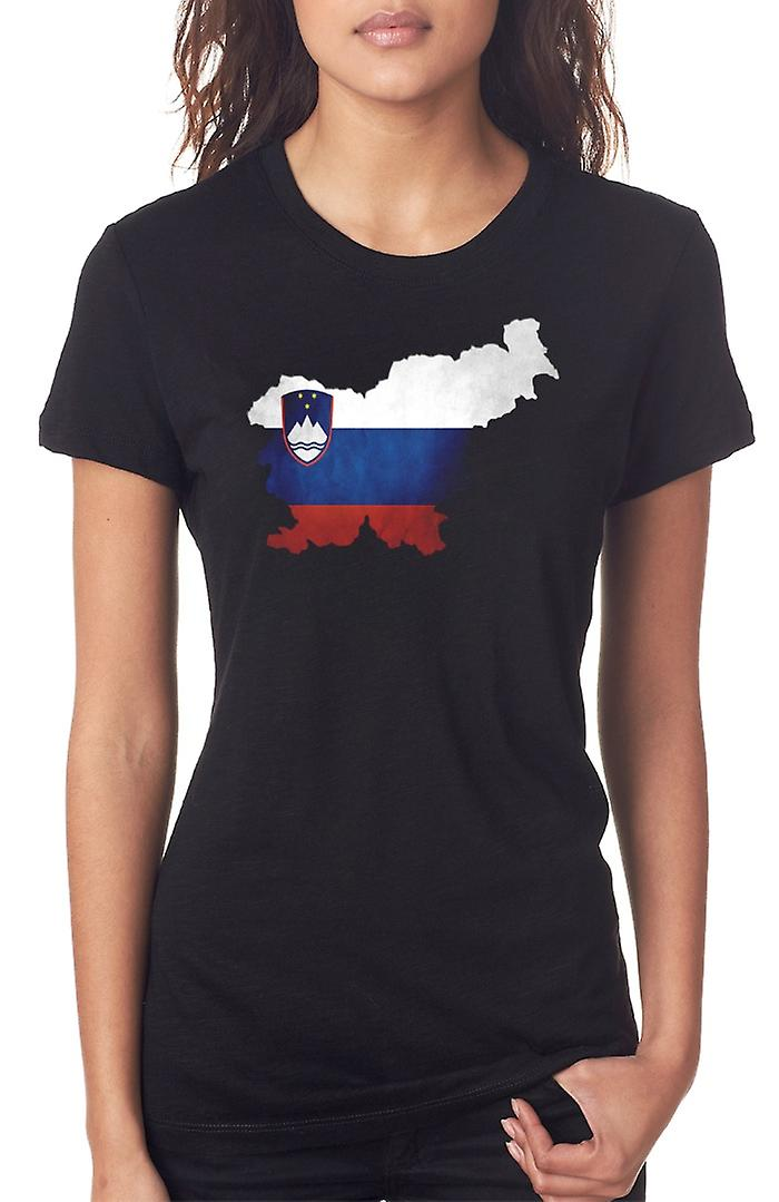 Slovenia Flag Map Ladies T Shirt