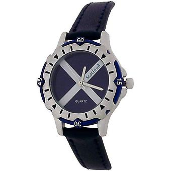 YESS Children Scotland Scottish Flag Dial Navy Blue Leather Strap Watch BOXX357
