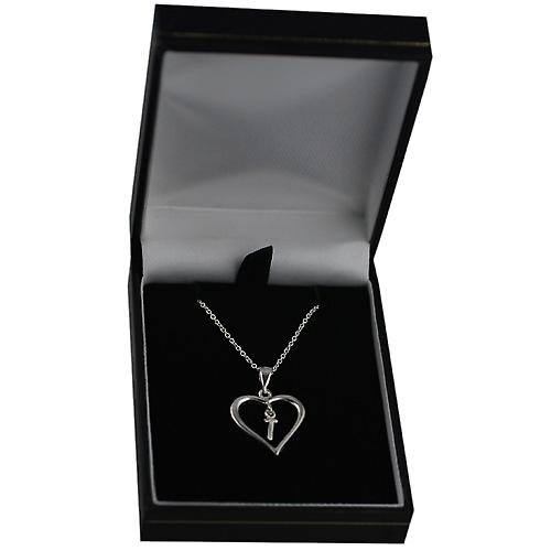 Silver 18x18mm initial T in a heart with rolo chain
