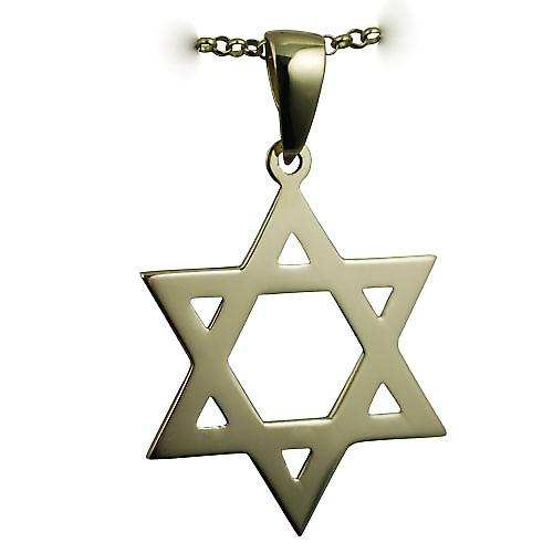 9ct Gold 31x27mm plain Star of David Pendant on a bail with belcher Chain 16 inches Only Suitable for Children