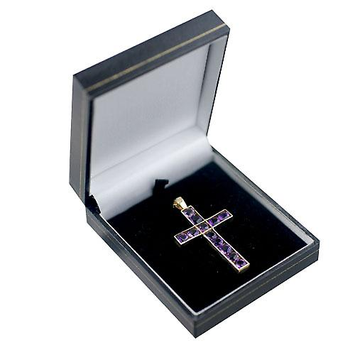 9ct Gold 45x29mm Apostle's Cross set with 12 Amethysts