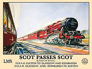 Scot Passes Scot (old rail ad.) metal sign