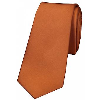 David Van Hagen Plain Thin Satin Tie - Terracotta