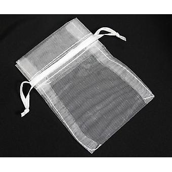 Draw String Organza Gift/Party/Wedding Bags 16cm x 12cm Pack Of 105 - Snow White - (WS630711)