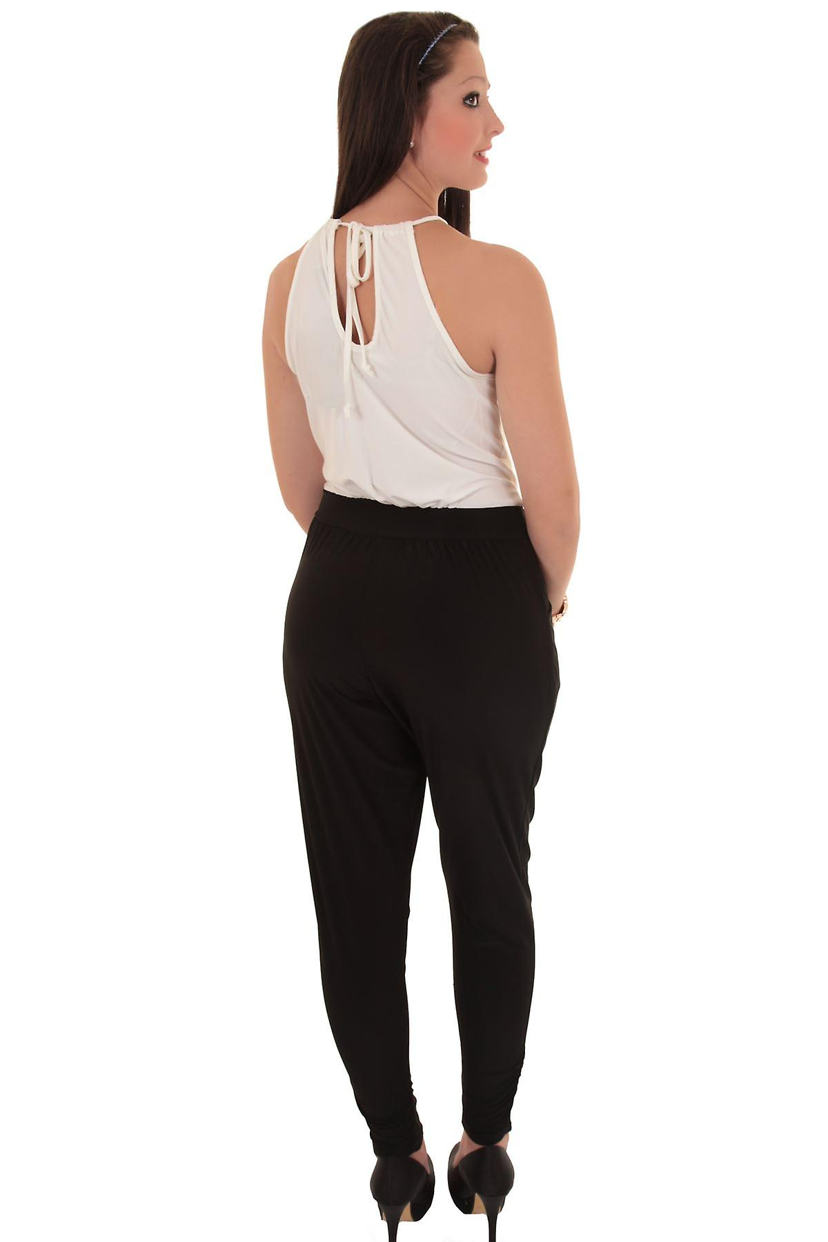 Ladies Sleevles Halter Neck Gold Plate Cross Over Ivory Black Women's Jumpsuit