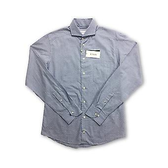 Eton Green slim fit shirt in light blue faint dot pattern