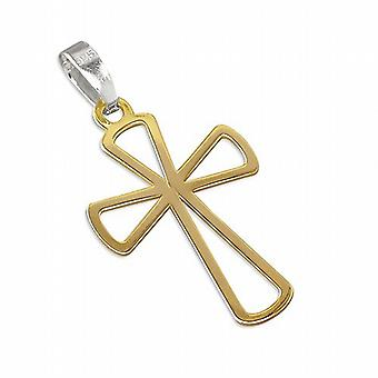 TOC Sterling Silver Gold Plated FLared Outline Cross Pendant on 18 Inch Chain