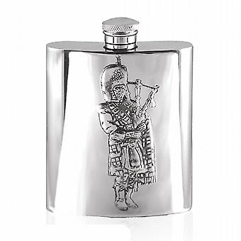 6oz Embossed Piper Flask Pewter - Sg321
