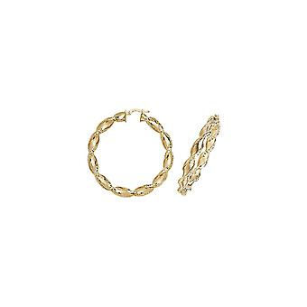 Eternity 9ct Gold Large Round Twisted Créole Hoop Boucles d'oreilles