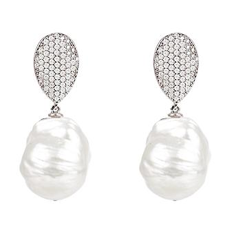 Baroque Pearl Drop Earrings CZ 925 Silver Large Big Party Natural Statement Gift