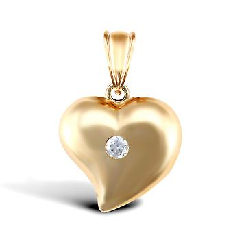 Jewelco London Ladies 9ct Yellow Gold White Round Brilliant Cubic Zirconia Pillow Love Heart Charm Pendant
