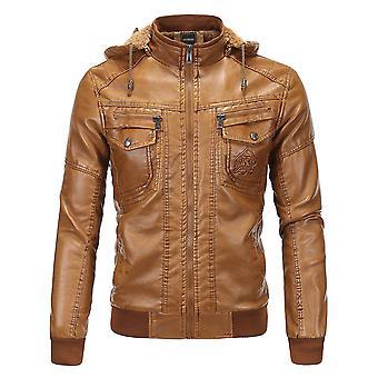 Veste en cuir Allthemen Men-apos;s Leather Coat Thickened Autumn Detachable Cap