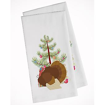 French Turkey Dindon Christmas White Kitchen Towel Set of 2