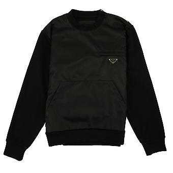 Prada Bimaterial Sweatshirt Noir