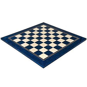 19.7 Inch Lacquered Blue Erable and Maple Deluxe Chess Board