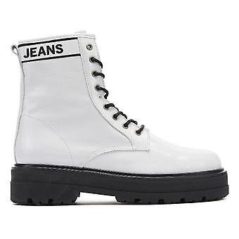 Tommy jeans Flatform kvinner hvit Patent Leather Boots