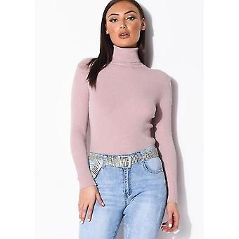 Rullhals ribbstickad tröja topp rosa
